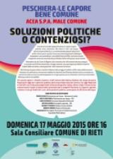 Acqua: Assemblea pubblica domenica 17 maggio ore 16 Sala consiliare Comune di Rieti