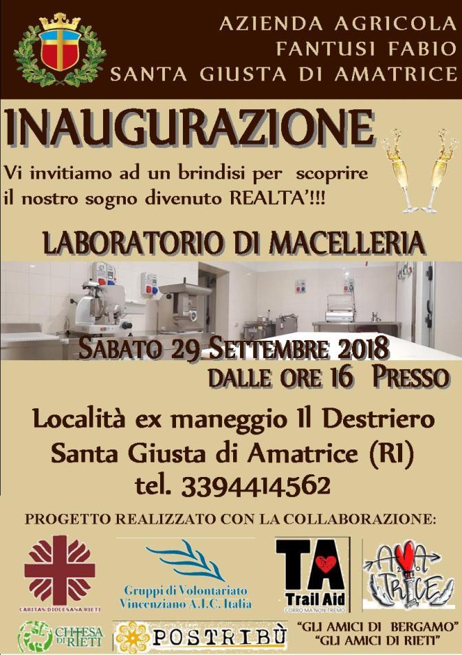 A Santa Giusta di Amatrice si inaugura il laboratorio di macelleria realizzato grazie alle donazioni del progetto Posterremoto